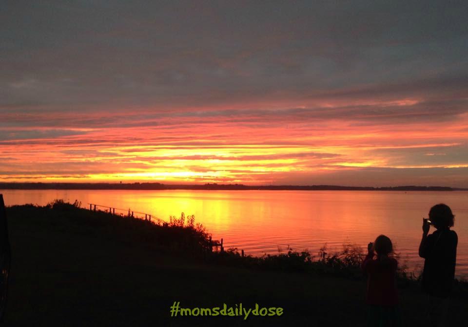 sunset on riverside